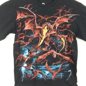Liquid Blue Graphic Red Dragon T Shirt Medium